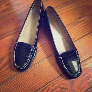 Salvatore Ferragamo Patent Black Loafers with Heel